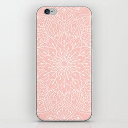 White Mandala Pattern on Rose Pink iPhone Skin