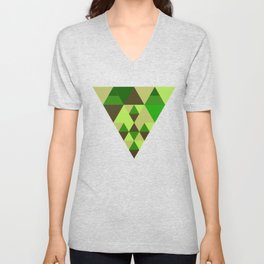 Colourful triangular mosaic in the nuance of green Unisex V-Neck