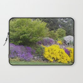 Beautiful Landscape With Purple and Gold Flower, Lush Landscape, Green Laptop Sleeve