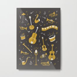 Spirit of Jazz in Grey Metal Print
