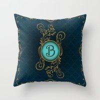 monogram Throw Pillows featuring Monogram B by Britta Glodde