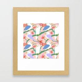 Kookaburra Birds + Little Kurrajong Flowers Framed Art Print