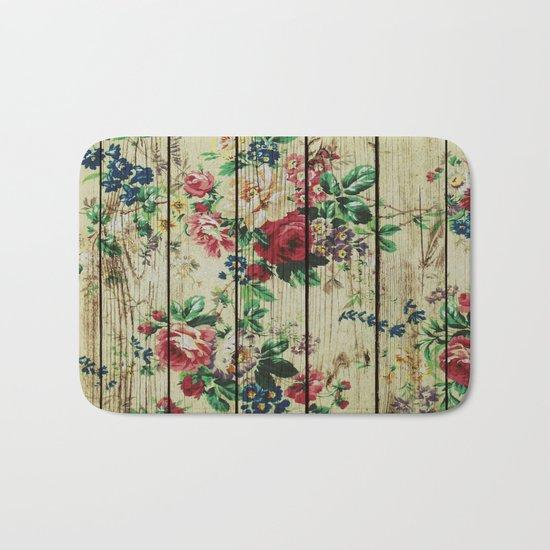 Flowers on Wood 01 Bath Mat