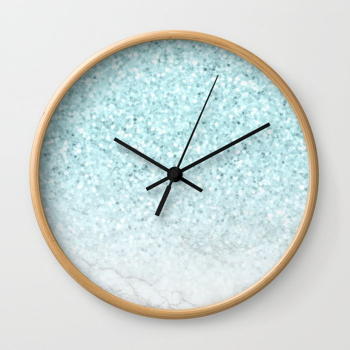 Pretty Turquoise Marble Sparkle Wall Clock