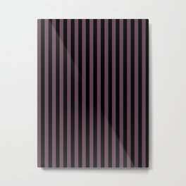 Eggplant Violet and Black Vertical Stripes Metal Print