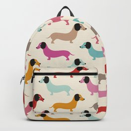Sweet retro dachshund doxie puppy pattern Backpack