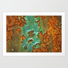 Rust and Deep Aqua Blue Abstract Art Print
