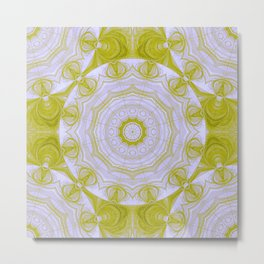 Green and white quilt kaleidoscope Metal Print