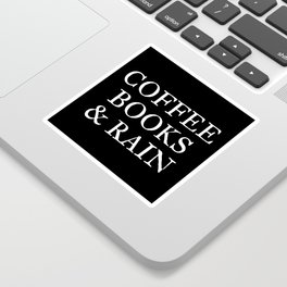 Coffee Books & Rain - Black Sticker