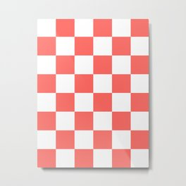 Large Checkered - White and Pastel Red Metal Print