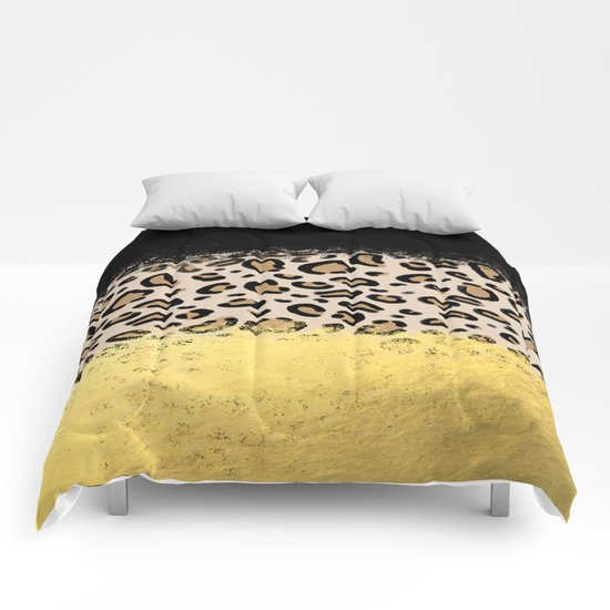 Wilder - black gold foil cheetah print animal pattern spots dots bold modern design sparkle glitter Comforters