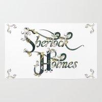 sherlock holmes Area & Throw Rugs featuring Sherlock Holmes by Ketina