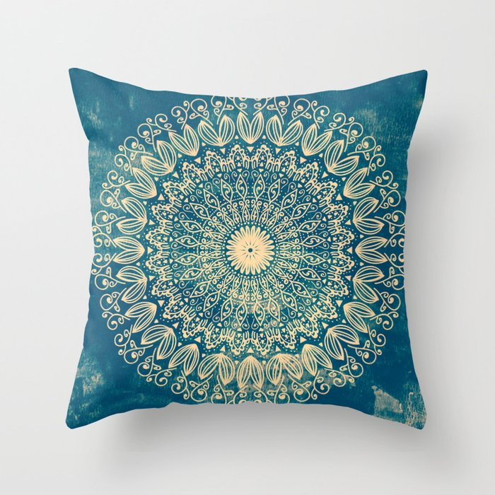 BLUE ORGANIC MANDALA Throw Pillow