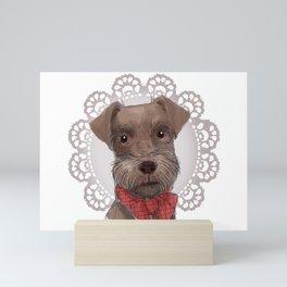 Chocolate Mini Schnauzer in Foil Crochet Wreath Mini Art Print