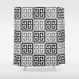 Gray Black And White Greek Key Pattern Shower Curtain