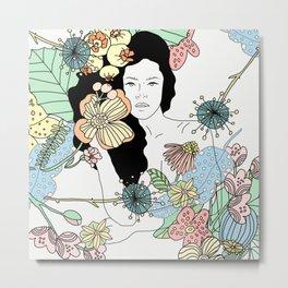 Flower Maiden Blossom Metal Print