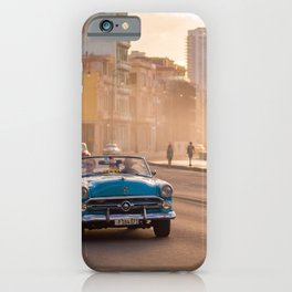 Classic American car during sunset in Havana | Travel photography Cuba iPhone Case