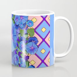 Blue Diamond Patterns Morning Glories Art Coffee Mug