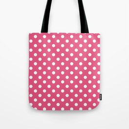 Small Polka Dots - White on Dark Pink Tote Bag
