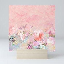 Modern blush watercolor ombre floral watercolor pattern Mini Art Print