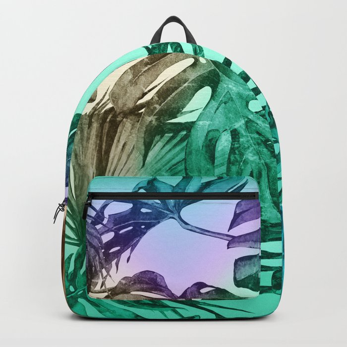Simply Palm Leaves in Hologram Island Green Backpack