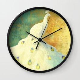 White Peacock Wall Clock