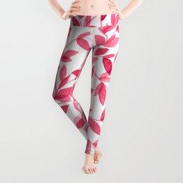 Red watercolor leaves design Leggings