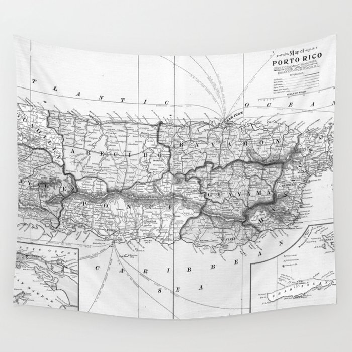 Vintage Map of Puerto Rico (1901) BW Wall Tapestry by bravuramedia