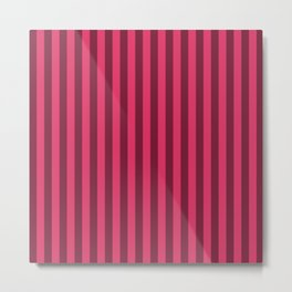 Cerise Pink Stripes Pattern Metal Print