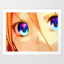 Anime Girl Eyes Gold Art Print