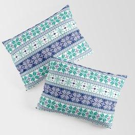Blue & Turquoise Winter Fair Isle Pattern Pillow Sham