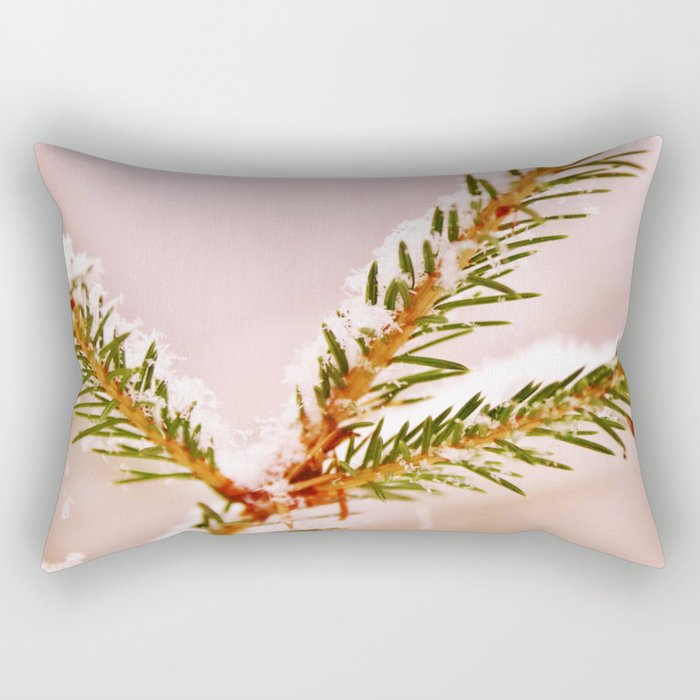Spruce twig with snowflakes on pink Rectangular Pillow