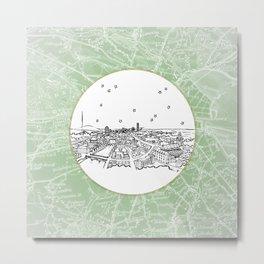 Dublin, Ireland, Europe City Skyline Illustration Drawing Metal Print