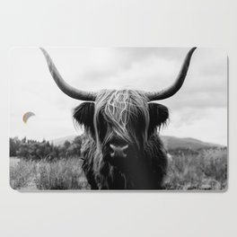 Scottish Highland Cattle Black and White Animal Cutting Board