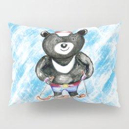Bear on ski Pillow Sham