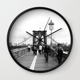 Walking the Brooklyn Bridge from Manhattan, New York Wall Clock