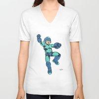 mega man V-neck T-shirts featuring Mega Man by Ramon Villalobos