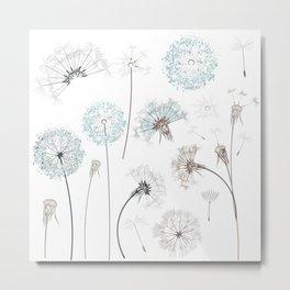 Hand drawn vector dandelions in rustic style Metal Print