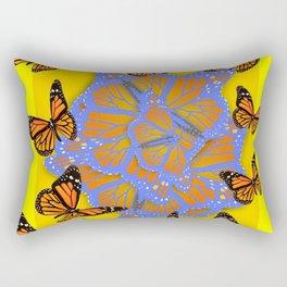 MONARCH BUTTERFLIES ABSTRACT ON YELLOW-GOLD Rectangular Pillow