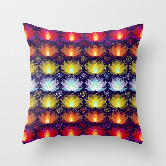 Variations on a Lotus I - Sparkle Brightly Throw Pillow