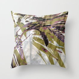 Crocosmia Shimmer in Ivory Gold Pink Throw Pillow