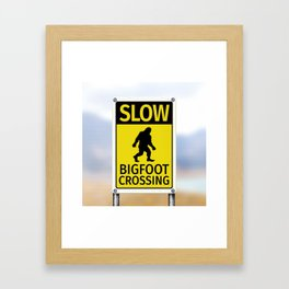 Bigfoot Crossing Sign Framed Art Print