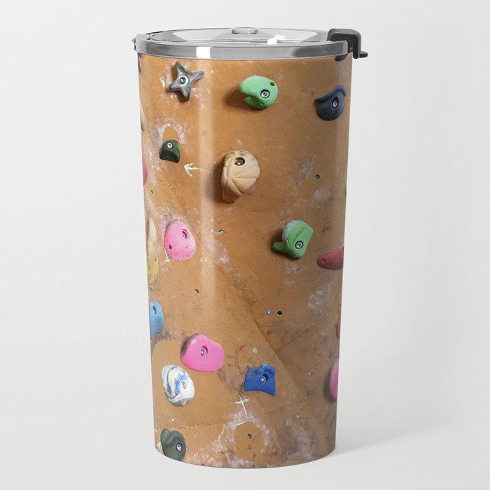 Wooden boulders climbing gym bouldering photography Travel Mug