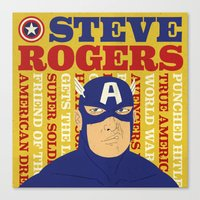 steve rogers Canvas Prints featuring Steve Rogers/Captain America by Joseph Rey Velasquez