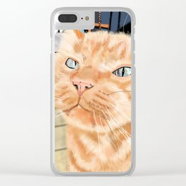 Oliver the Sniffy Red Tabby Cat Clear iPhone Case