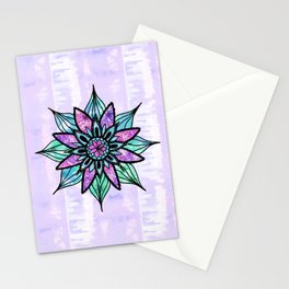 Hand Drawn Watercolor Flower on Purple Tie Dye Stationery Cards