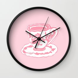 Rose Teacup Printmaking Art Wall Clock