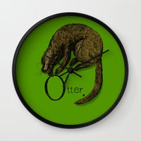 otter Wall Clocks featuring Otter by zuzia turek
