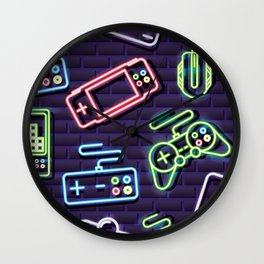 Neon Video Game Accessories Pattern Wall Clock