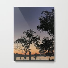 Silhouettes at sunset in Annapolis, MD   Jonas Green Park Metal Print